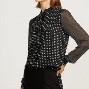 Anne Klein Long Sleeve Mini Dot Blouse